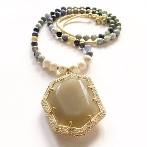 """Gold Beaded 30"""" Necklace with Pendant"""